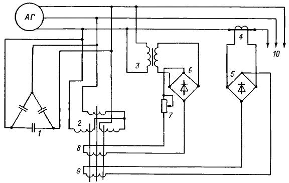 Схема асинхронного генератора